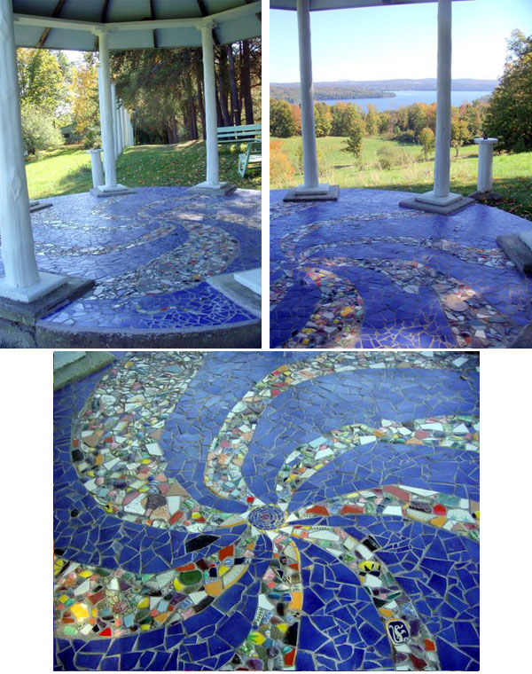 Indigo moon mosaics artwork detail commissions gazebo patio floor ri mosaic maker - Basics mosaic tiles patios ...