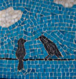 two birds talking mosaic